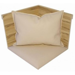 IV. Angle bois apparent+assise tissu+coussin